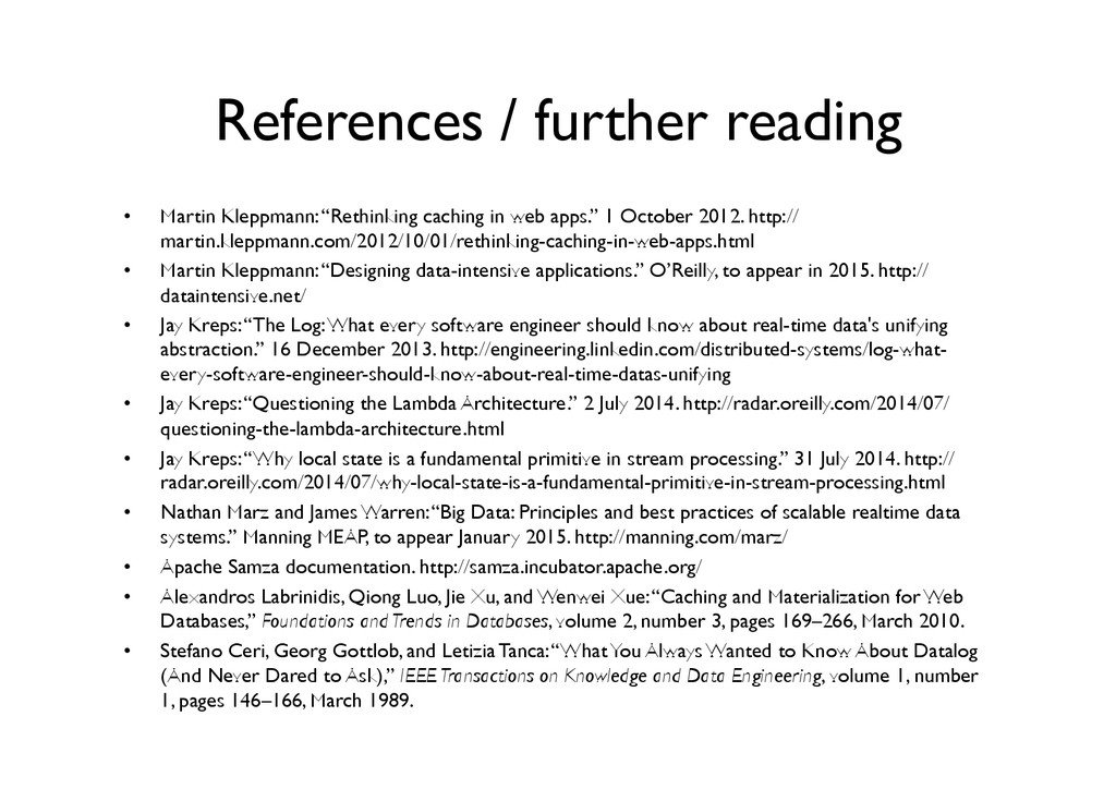 References / further reading	 