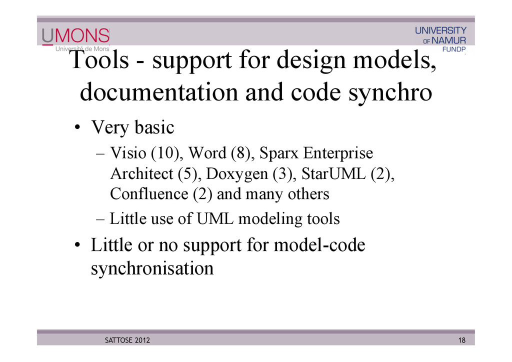 Tools - support for design models, documentatio...