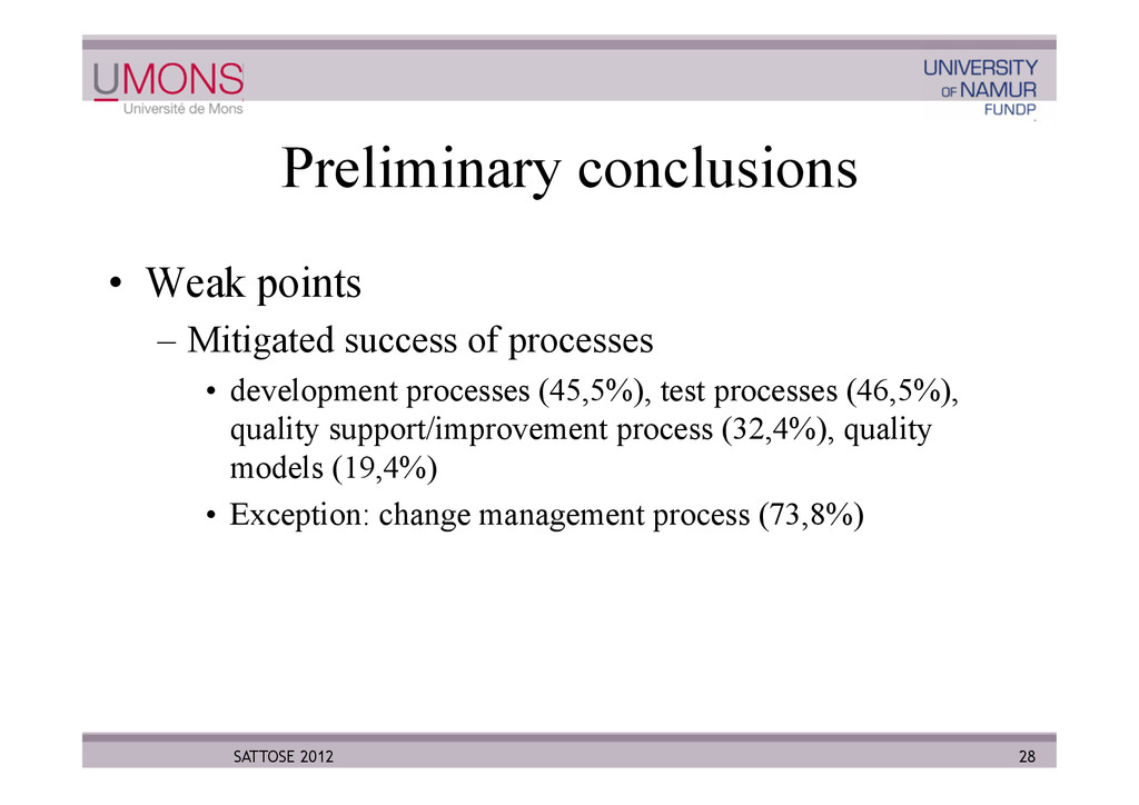 Preliminary conclusions •  Weak points –  Mitig...