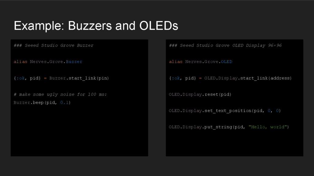 Example: Buzzers and OLEDs ### Seeed Studio Gro...