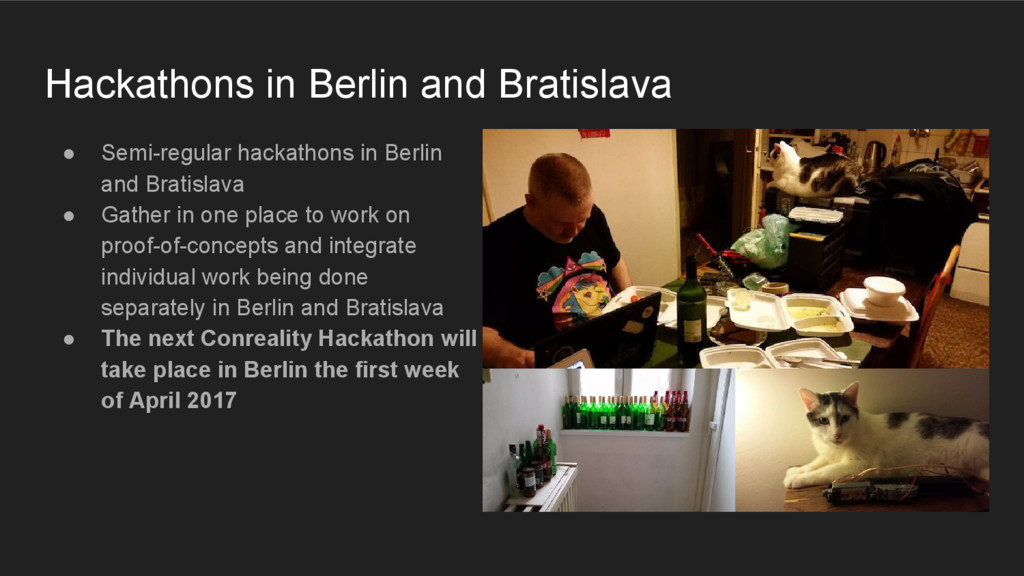 ● Semi-regular hackathons in Berlin and Bratisl...