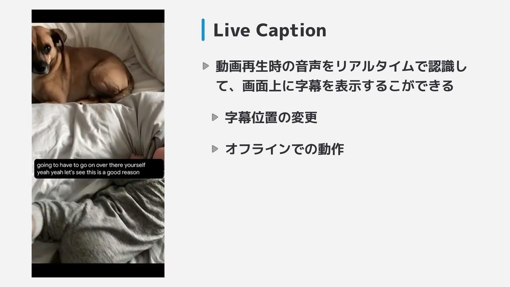 Live Caption 動画再生時の音声をリアルタイムで認識し て、画面上に字幕を表示するこ...