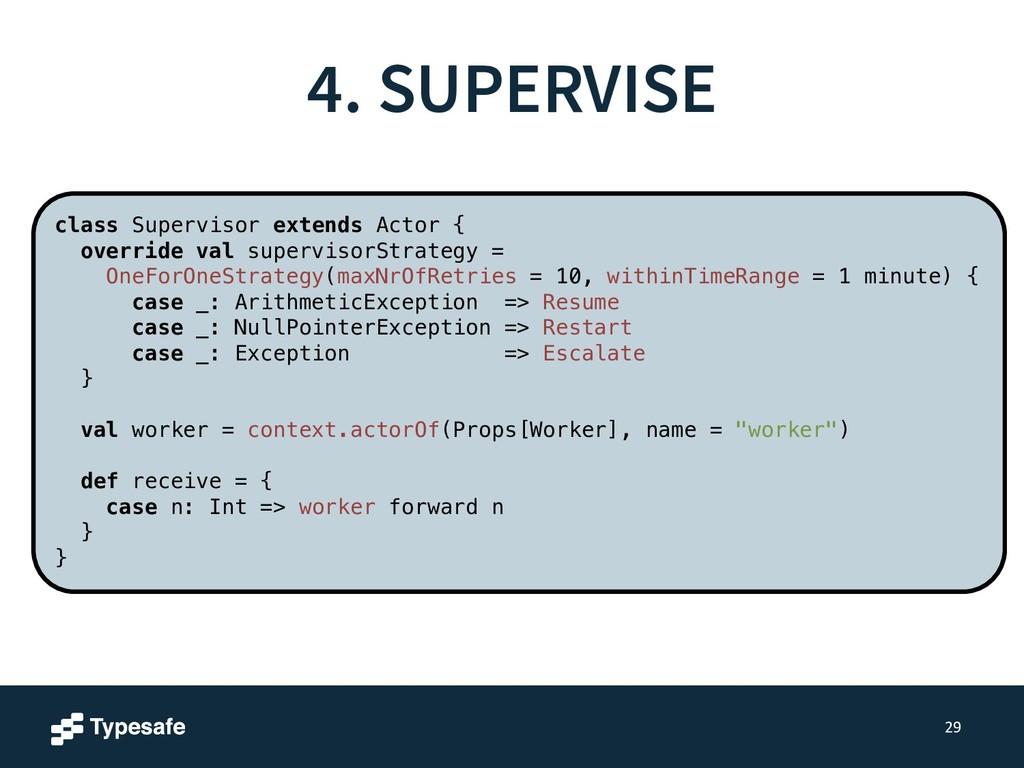 4. SUPERVISE 29 class Supervisor extends Actor ...