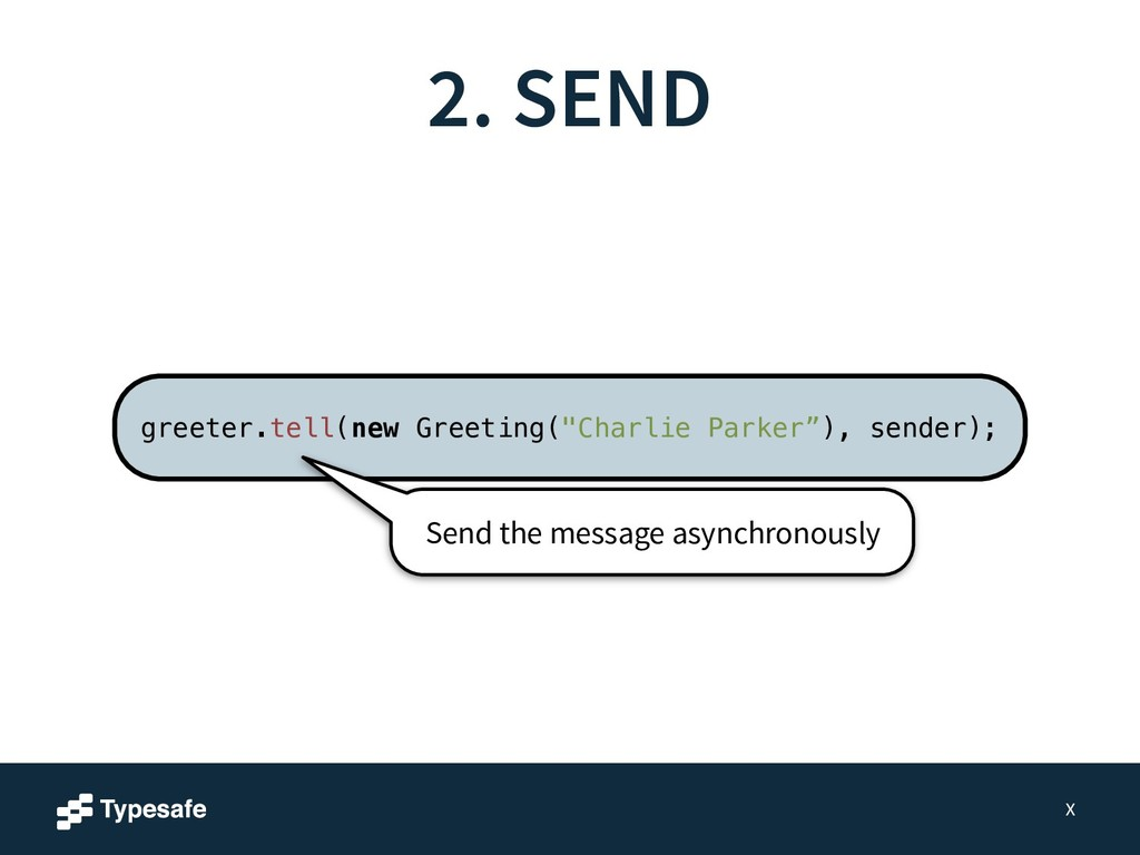 2. SEND X Send the message asynchronously greet...