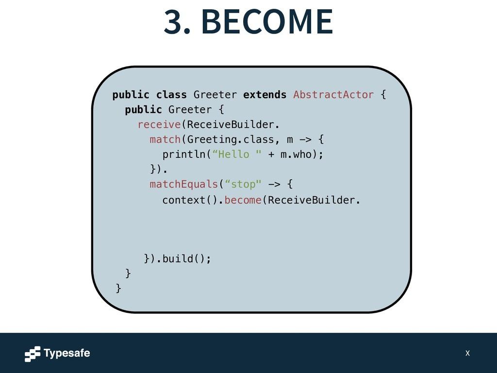 3. BECOME X public class Greeter extends Abstra...