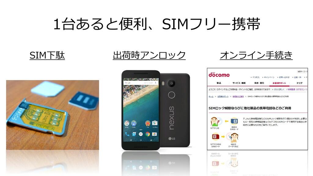 1台あると便利、SIMフリー携帯 SIM下駄 出荷時アンロック オンライン手続き