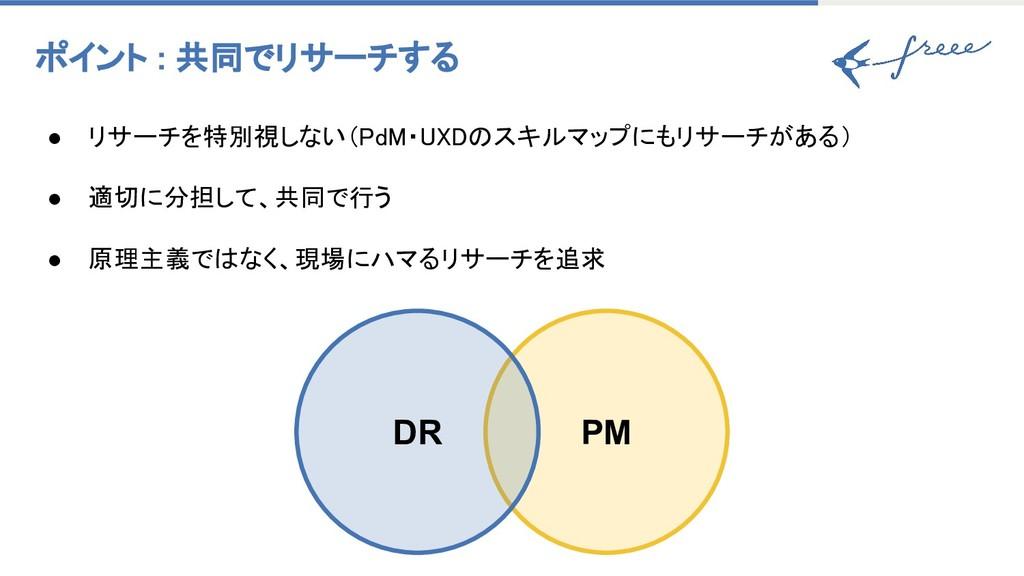 ポイント : 共同でリサーチする ● リサーチを特別視しない(PdM・UXDのスキルマップに...