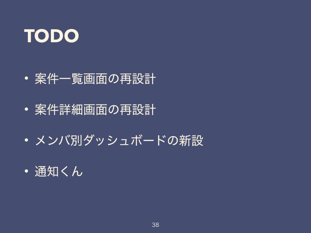 TODO • Ҋ݅Ұཡը໘ͷ࠶ઃܭ • Ҋ݅ৄࡉը໘ͷ࠶ઃܭ • ϝϯόผμογϡϘʔυͷ৽ઃ...