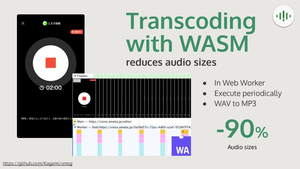 Transcoding with WASM reduces audio sizes https...