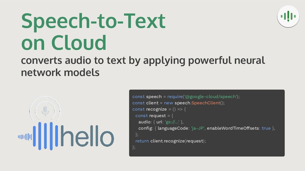 Speech-to-Text on Cloud converts audio to text ...