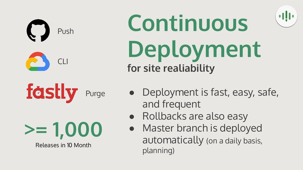 Continuous Deployment for site realiability ● D...