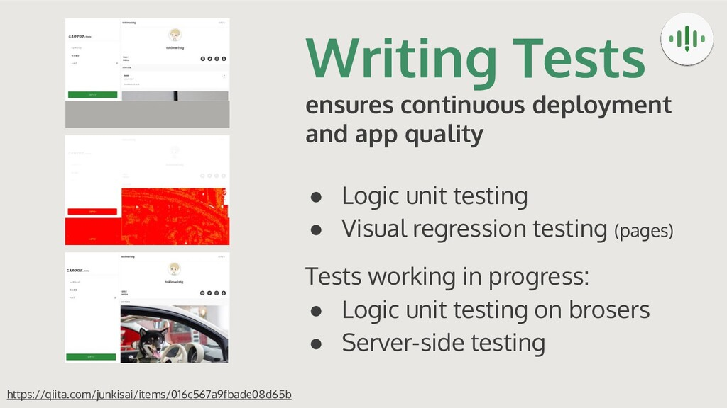 Writing Tests ensures continuous deployment and...