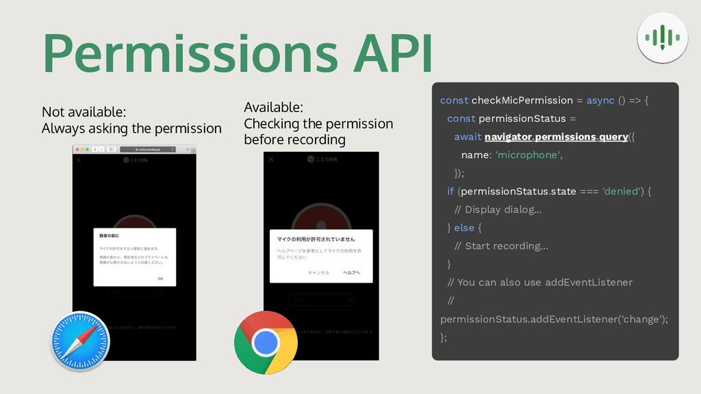 Permissions API Not available: Always asking th...
