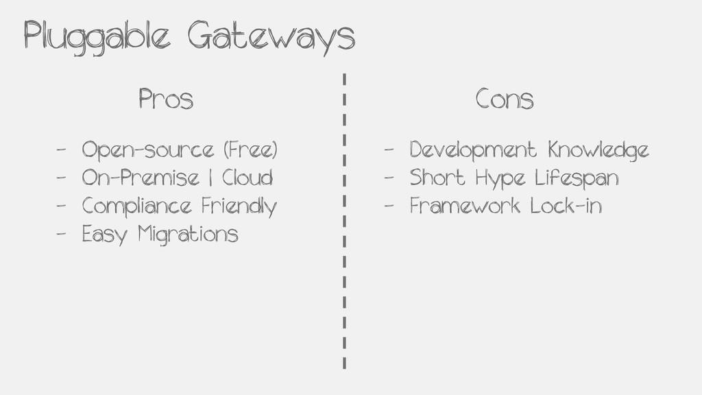 Pluggable Gateways Pros Cons - Open-source (Fre...