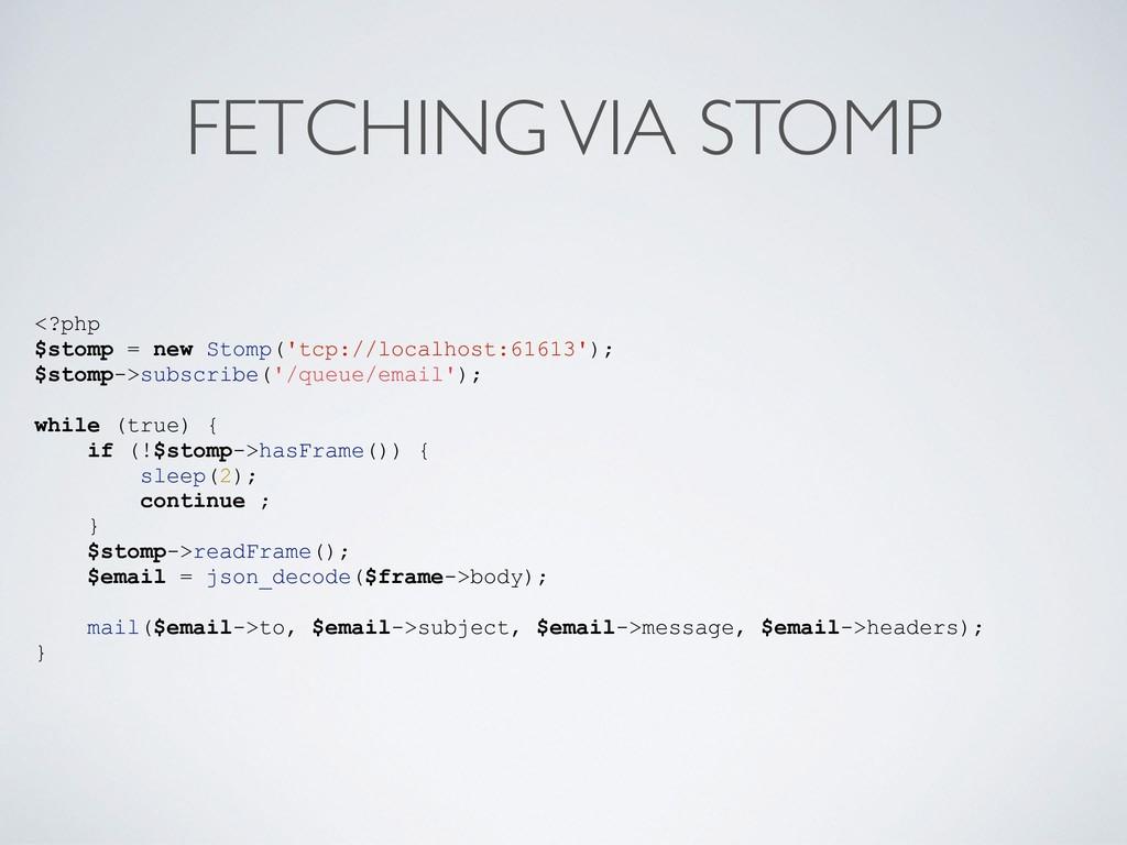 FETCHING VIA STOMP <?php $stomp = new Stomp('tc...