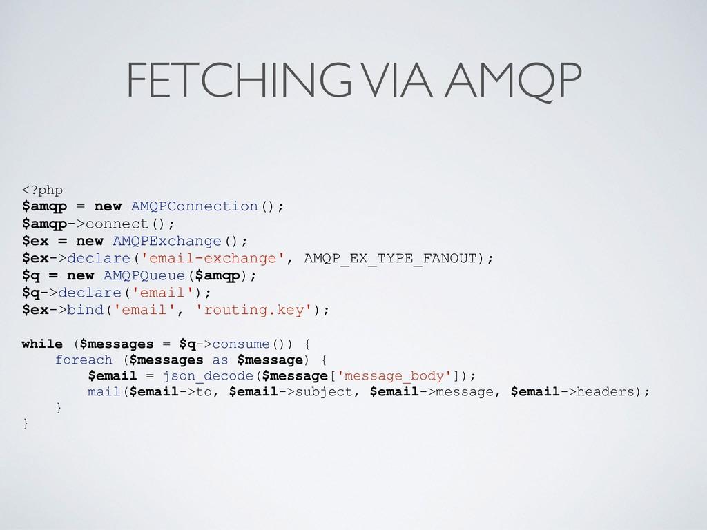 FETCHING VIA AMQP <?php $amqp = new AMQPConnect...