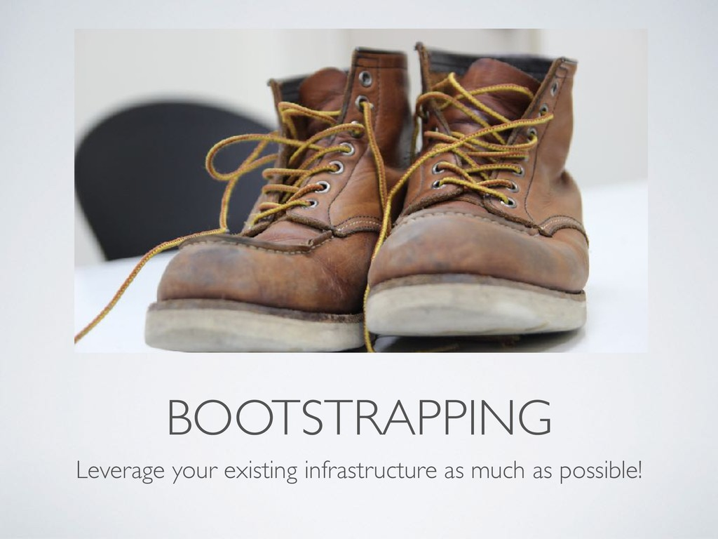 BOOTSTRAPPING Leverage your existing infrastruc...