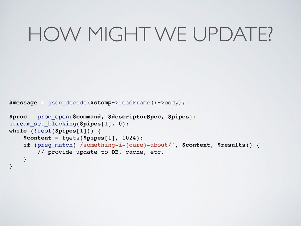 HOW MIGHT WE UPDATE? $message = json_decode($st...