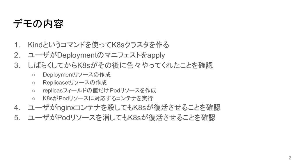 デモの内容 1. Kindというコマンドを使ってK8sクラスタを作る 2. ユーザがDeplo...