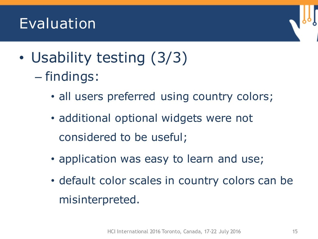 Evaluation • Usability testing (3/3) – findings...