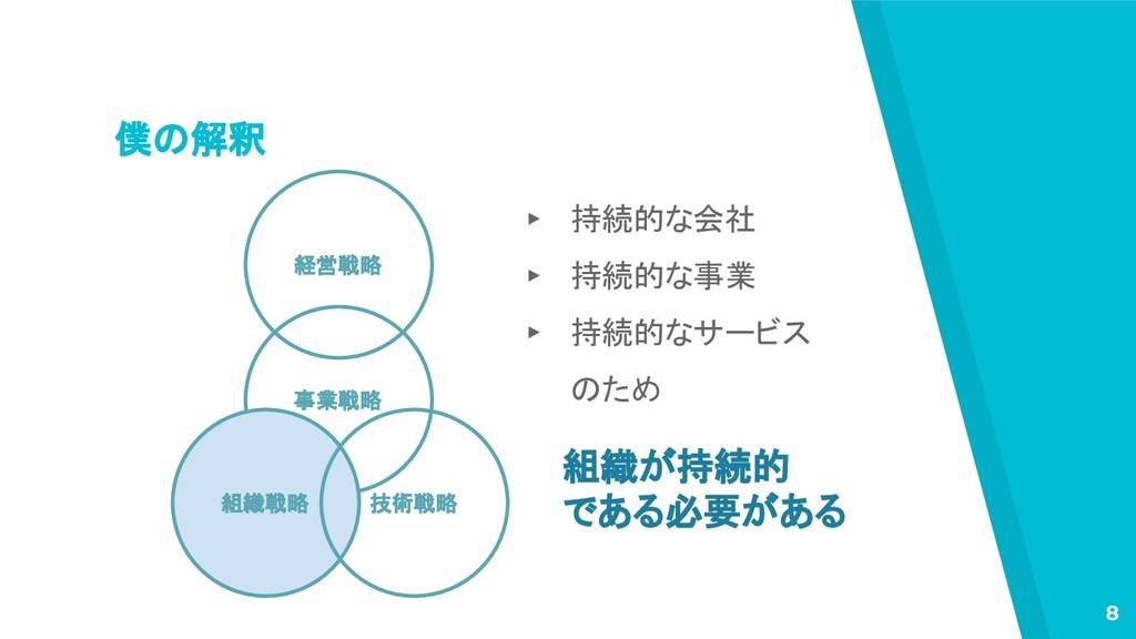 僕の解釈 8 経営戦略 事業戦略 組織戦略 技術戦略 ▸ 持続的な会社 ▸ 持続的な事業 ▸ ...