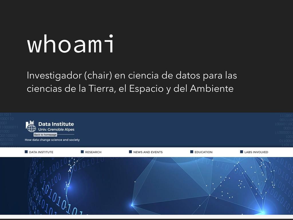 whoami Investigador (chair) en ciencia de datos...
