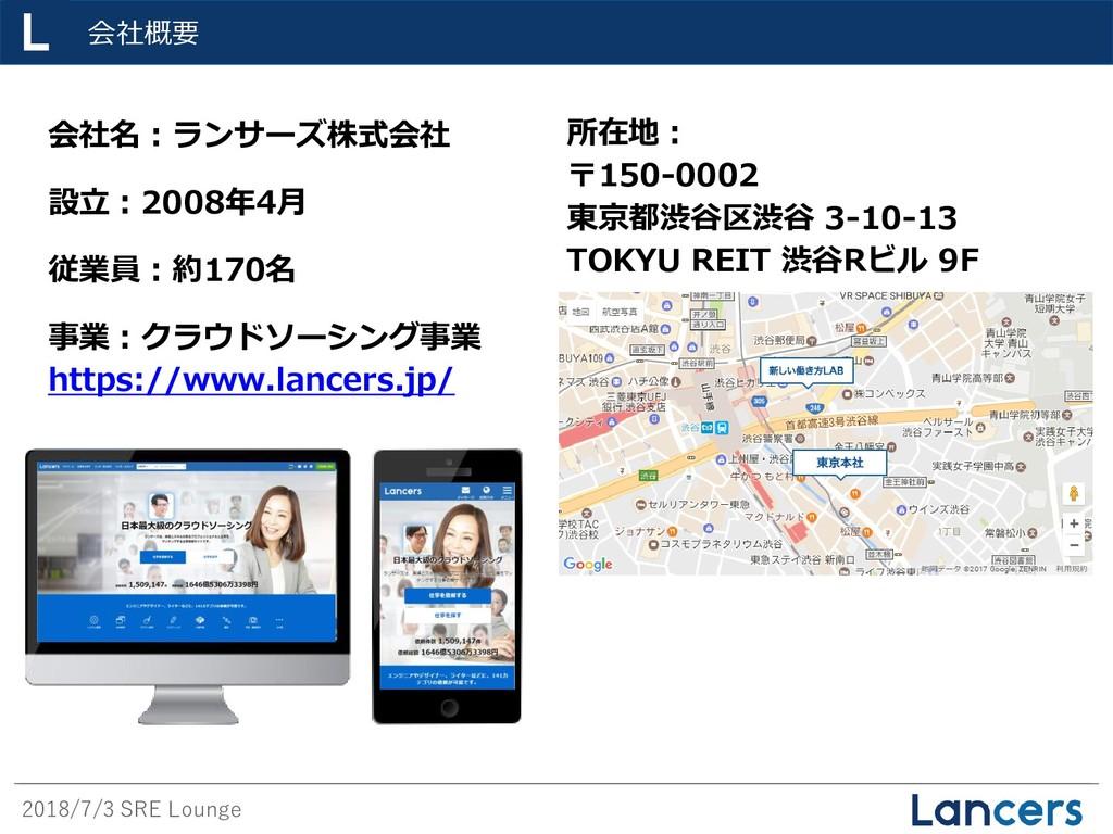 2018/7/3 SRE Lounge 会社概要 会社名:ランサーズ株式会社 設立:2008年...