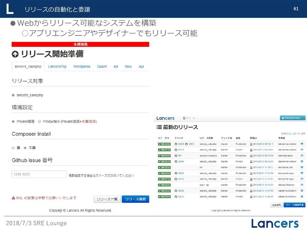 2018/7/3 SRE Lounge 61 リリースの自動化と委譲 ●Webからリリース可能...