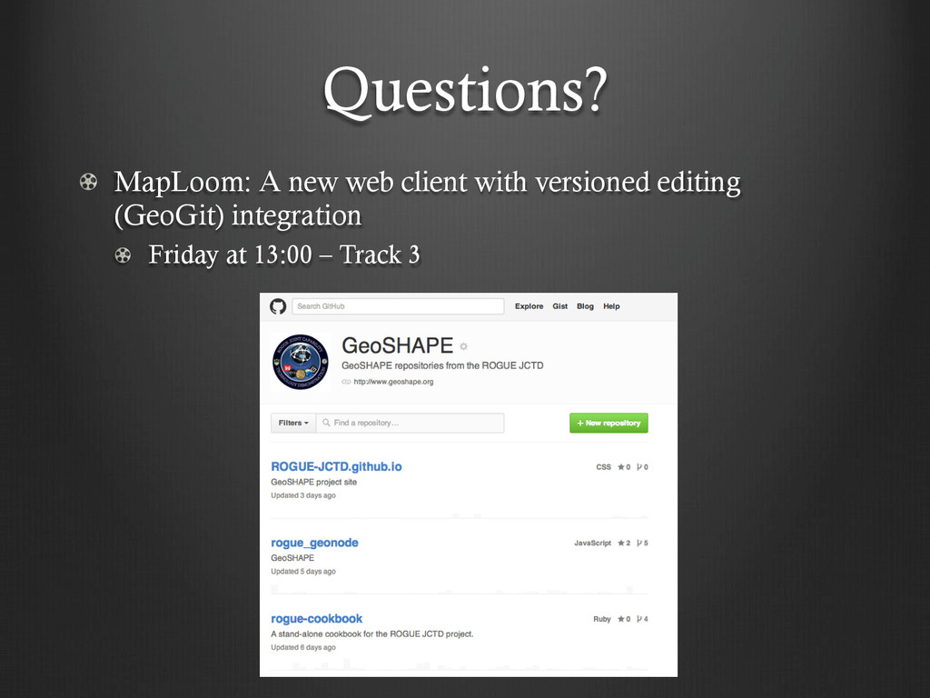Questions? !   MapLoom: A new web client with v...