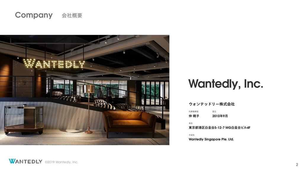©2019 Wantedly, Inc. 2 Wantedly, Inc. ΥϯςουϦʔג...