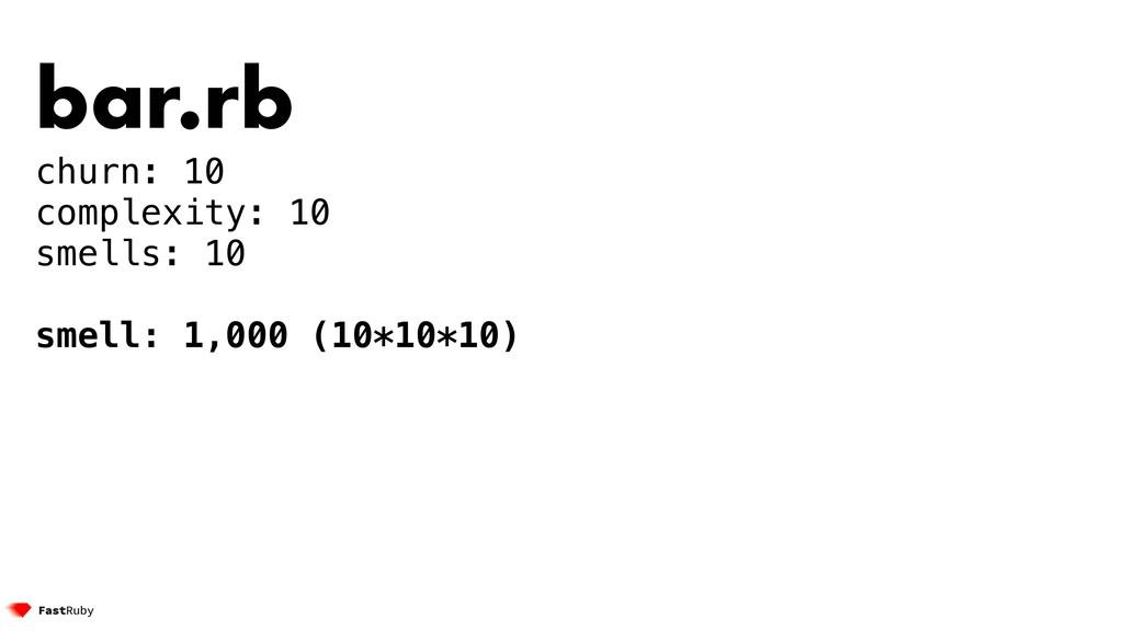 bar.rb churn: 10 complexity: 10 smells: 10 smel...