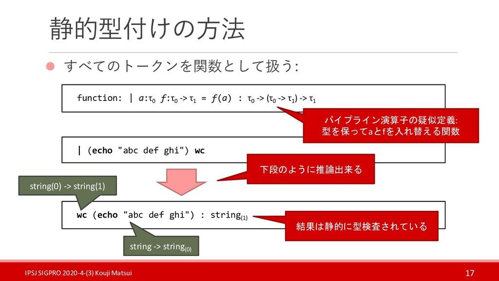 """静的型付けの方法 ⚫ すべてのトークンを関数として扱う: 17 wc (echo """"abc d..."""