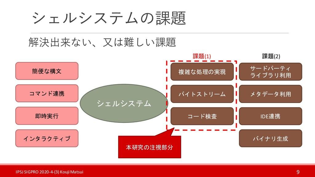 シェルシステムの課題 解決出来ない、又は難しい課題 9 シェルシステム 簡便な構文 コマンド連...