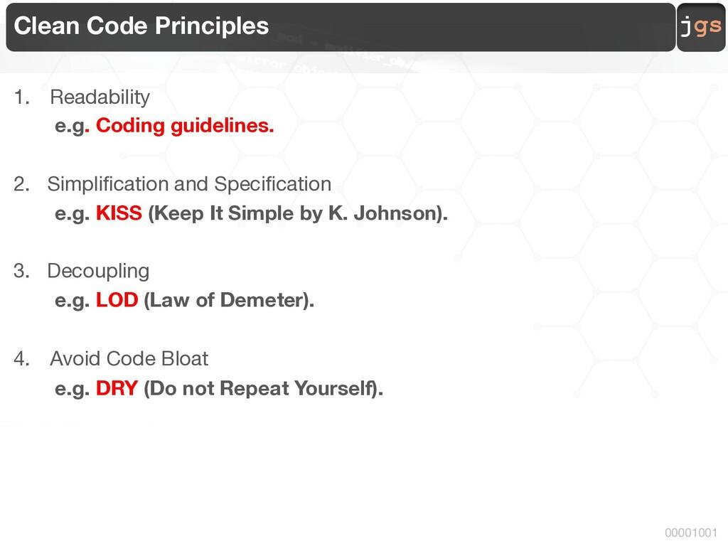 jgs 00001001 Clean Code Principles 1. Readabili...