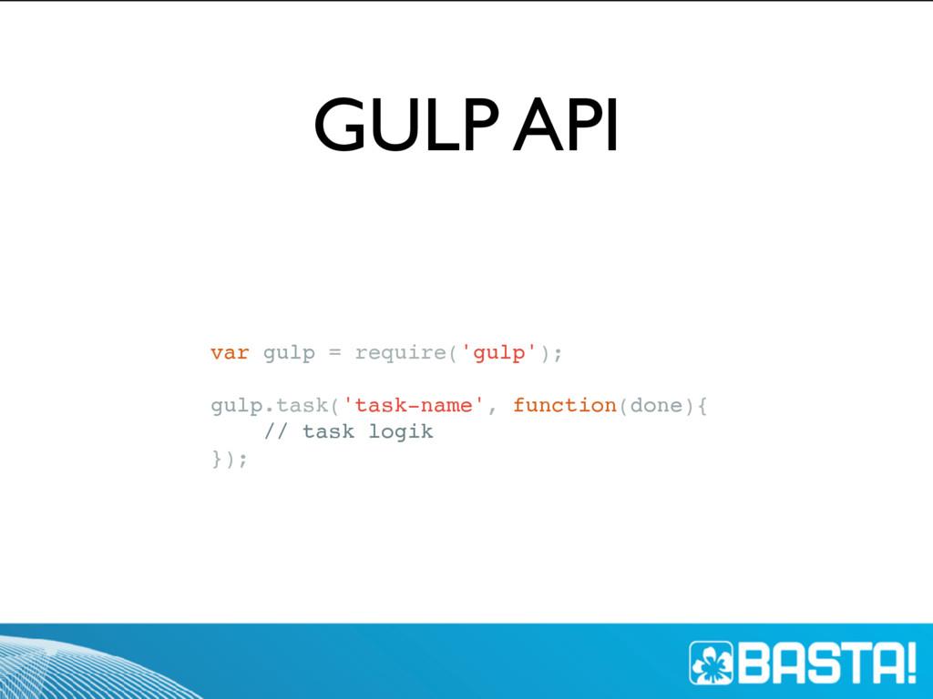 GULP API var gulp = require('gulp'); gulp.task(...