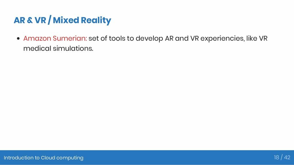 AR & VR / Mixed Reality Amazon Sumerian: set of...