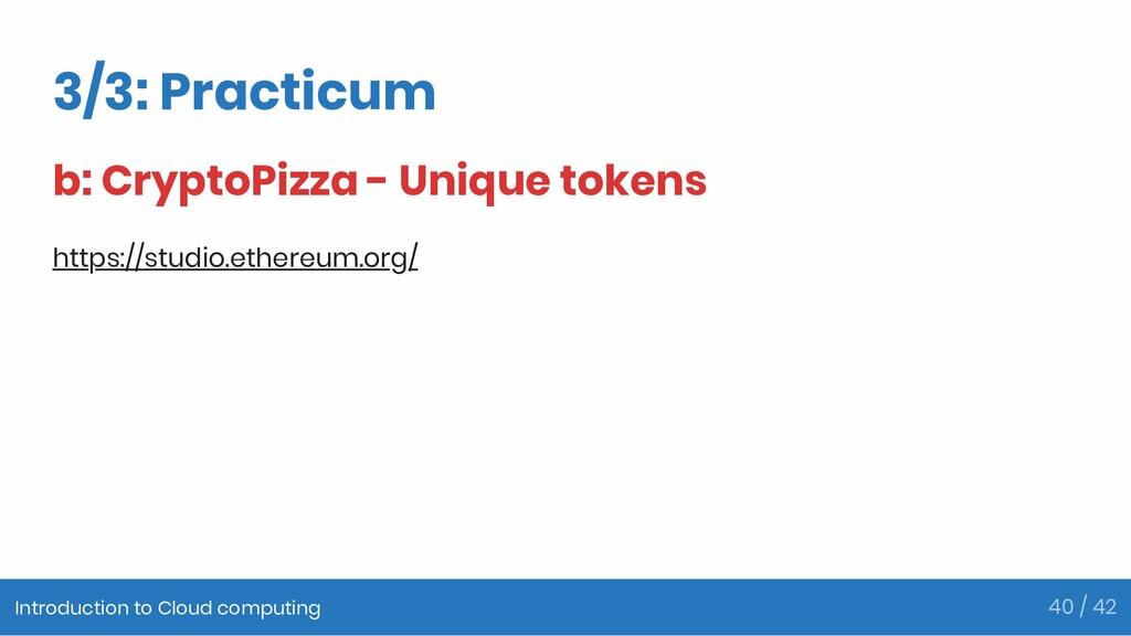 3/3: Practicum b: CryptoPizza - Unique tokens h...