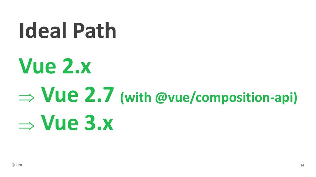 Ideal Path Vue 2.x Þ Vue 2.7 (with @vue/composi...