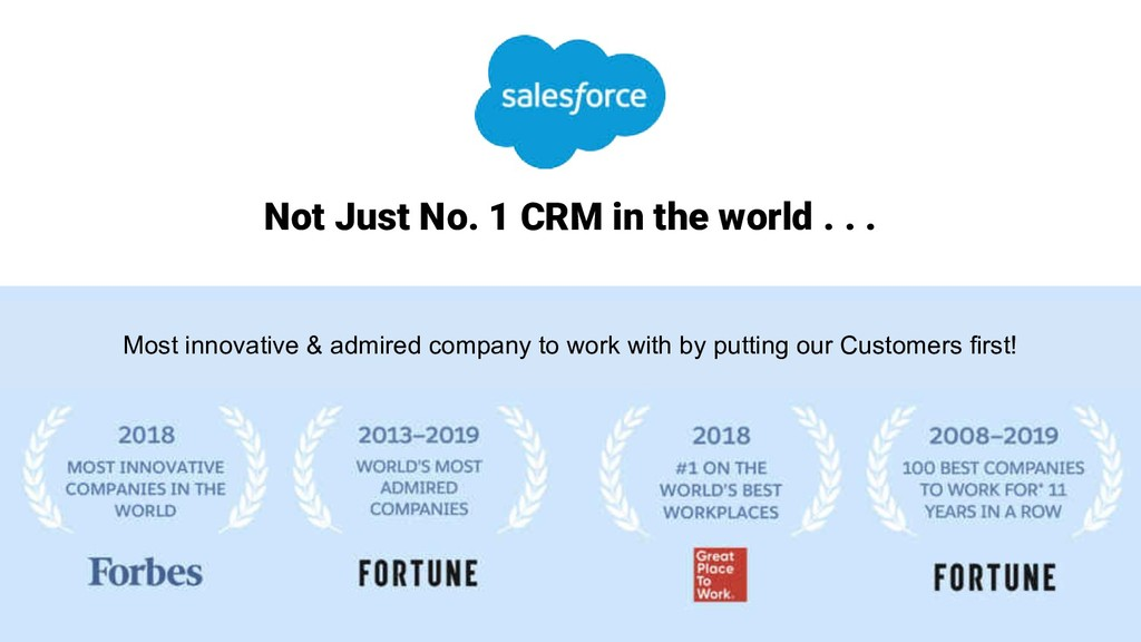 Not Just No. 1 CRM in the world . . . Most inno...