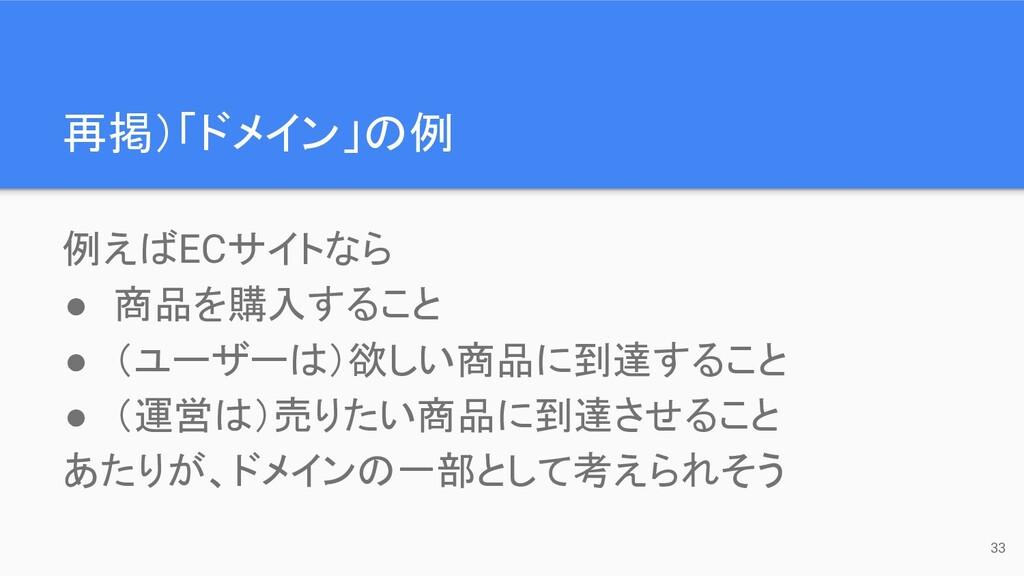 再掲)「ドメイン」の例 例えばECサイトなら ● 商品を購入すること ● (ユーザーは)欲しい...