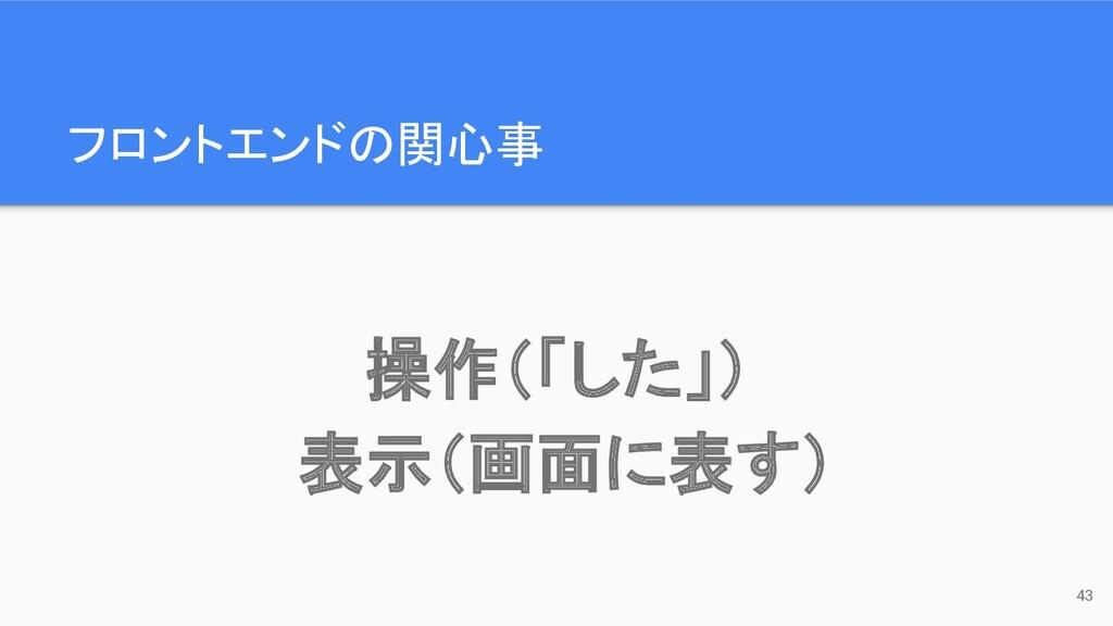 フロントエンドの関心事 43 操作(「した」) 表示(画面に表す)