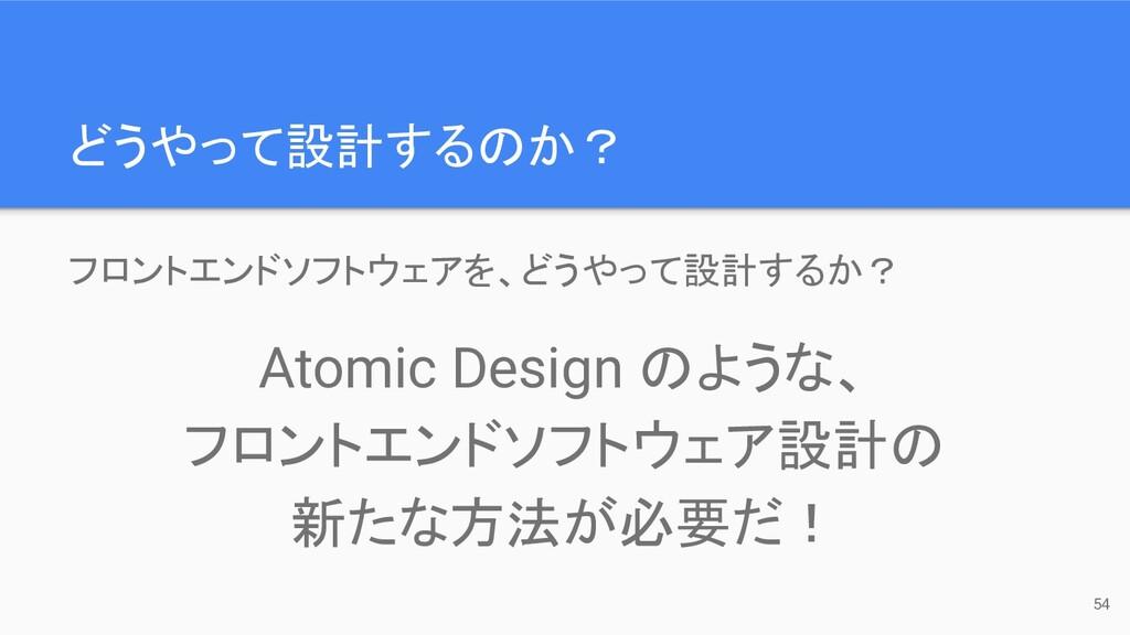 どうやって設計するのか? 54 フロントエンドソフトウェアを、どうやって設計するか? Atom...