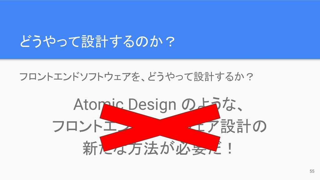 どうやって設計するのか? 55 フロントエンドソフトウェアを、どうやって設計するか? Atom...