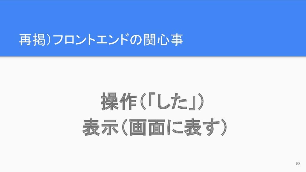 再掲)フロントエンドの関心事 58 操作(「した」) 表示(画面に表す)