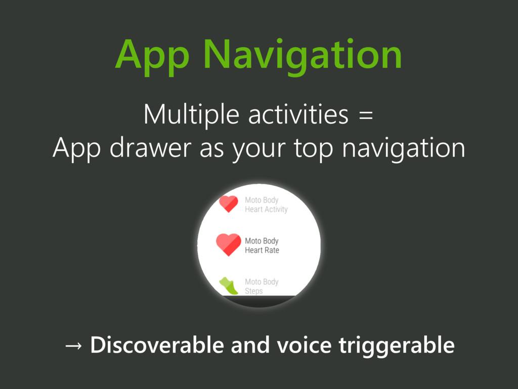 App Navigation Multiple activities = App drawer...