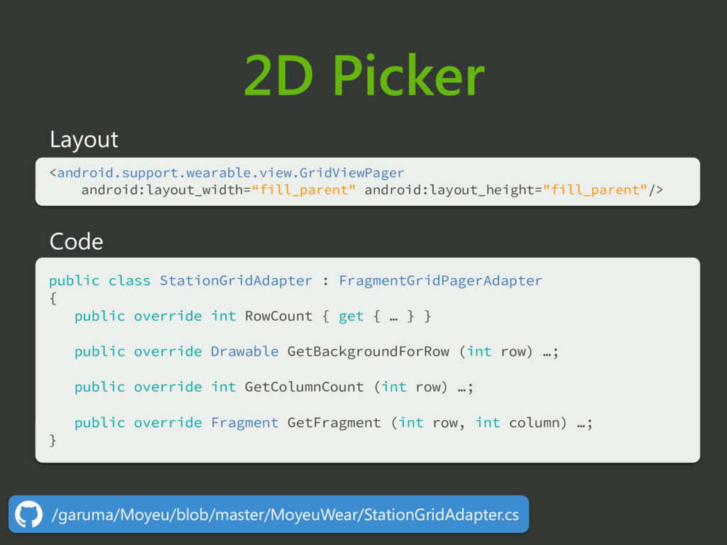 2D Picker Layout <android.support.wearable.view...
