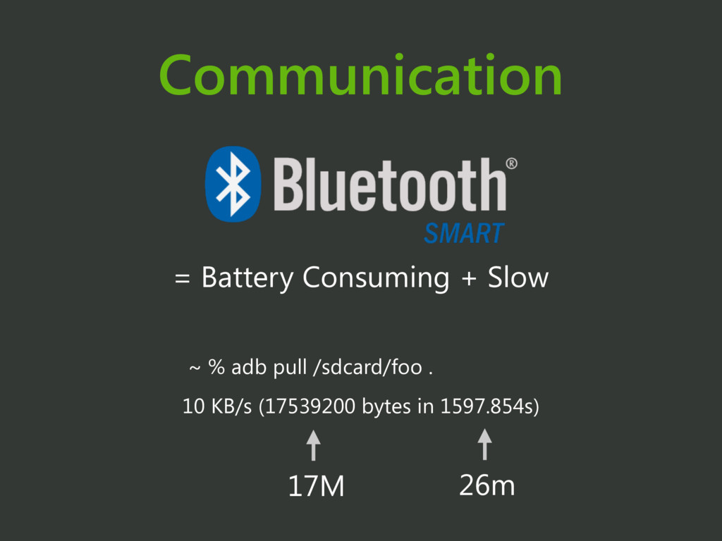 Communication = Battery Consuming + Slow ~ % ad...
