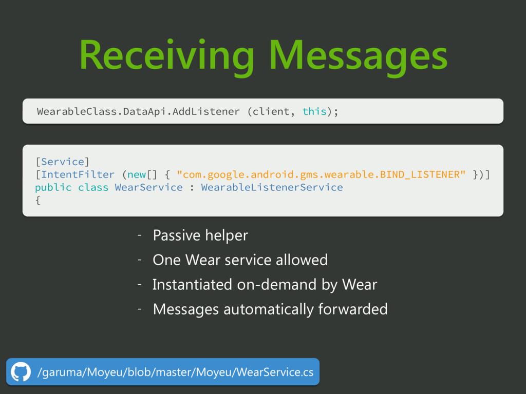 Receiving Messages [Service] [IntentFilter (ne...