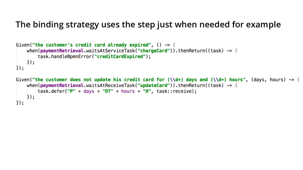 The binding strategy uses the step just when ne...