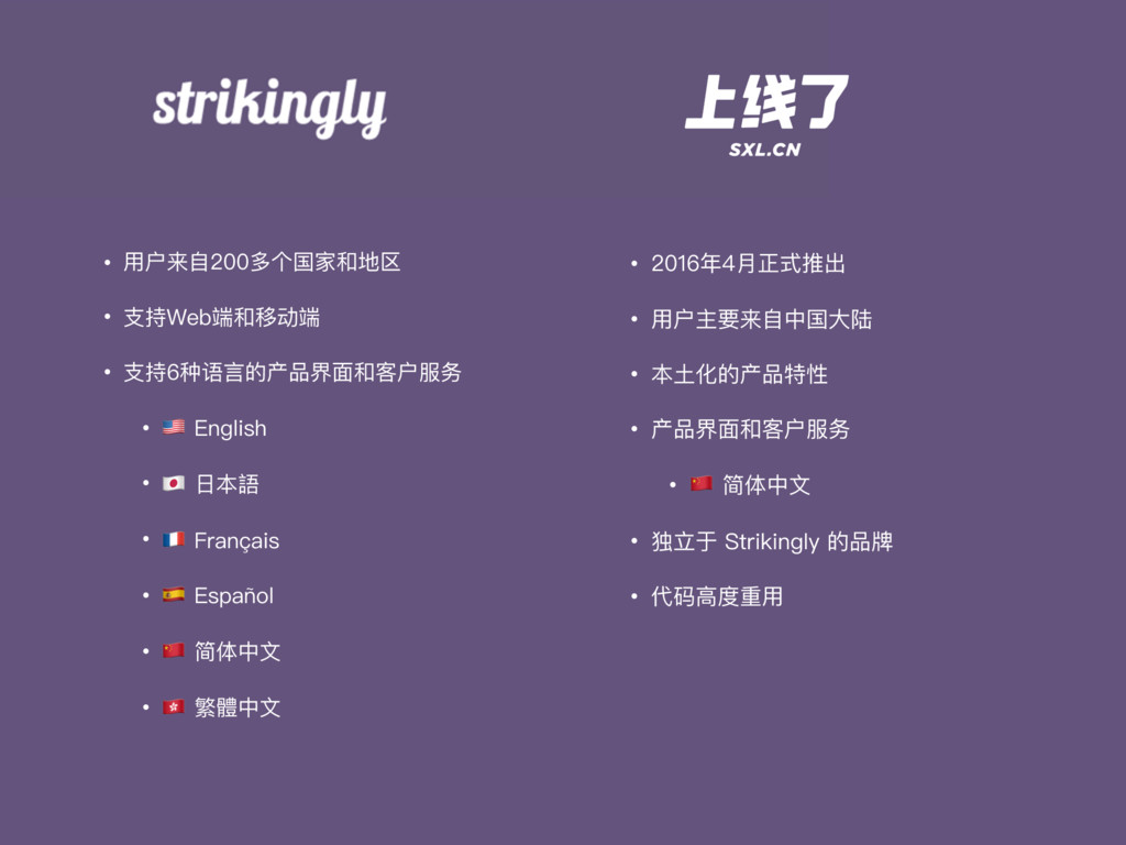 • ⽤用户来⾃自200多个国家和地区 • ⽀支持Web端和移动端 • ⽀支持6种语⾔言的产品界...